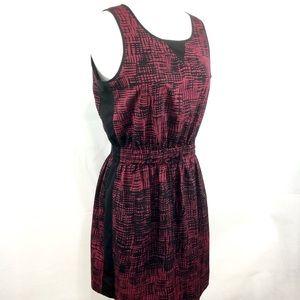 Lucky Brand Geo Print Tank Dress Burgundy Black M